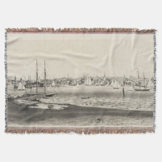 Vintage Pictorial Map of Newport RI (1860) Throw Blanket