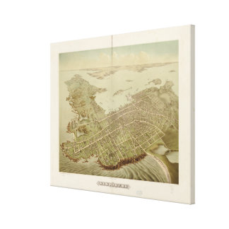 Vintage Pictorial Map of Newport RI (1878) Canvas Print