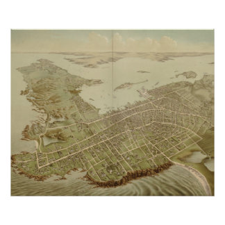 Vintage Pictorial Map of Newport RI (1878) Poster