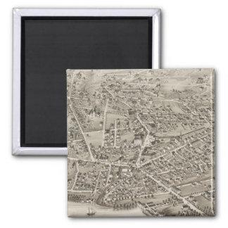 Vintage Pictorial Map of Newton MA (1878) 2 Inch Square Magnet