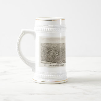 Vintage Pictorial Map of Newton MA (1878) Beer Stein