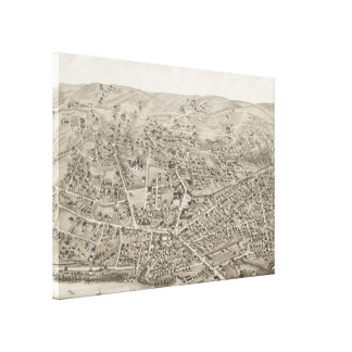 Vintage Pictorial Map of Newton MA (1878) Canvas Print