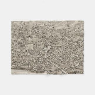 Vintage Pictorial Map of Newton MA (1878) Fleece Blanket