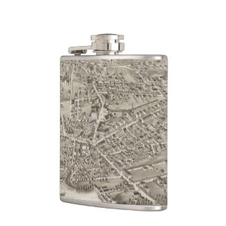Vintage Pictorial Map of Newton MA (1878) Hip Flask
