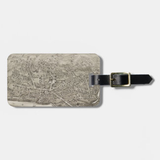 Vintage Pictorial Map of Newton MA (1878) Luggage Tag