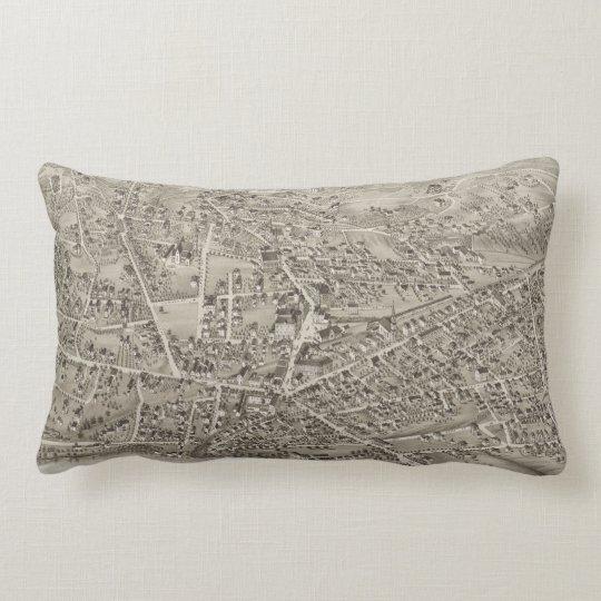 Vintage Pictorial Map of Newton MA (1878) Lumbar Pillow