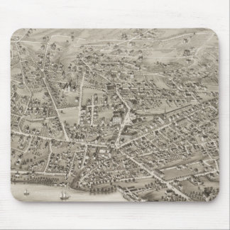 Vintage Pictorial Map of Newton MA (1878) Mouse Pad