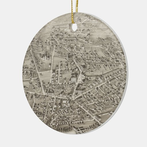 Vintage Pictorial Map of Newton MA (1878) Double-Sided Ceramic Round Christmas Ornament