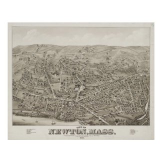 Vintage Pictorial Map of Newton MA (1878) Poster