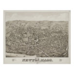 Vintage Pictorial Map of Newton MA (1878) Print