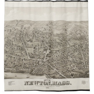 Vintage Pictorial Map of Newton MA (1878) Shower Curtain