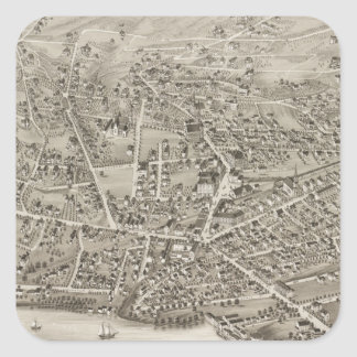 Vintage Pictorial Map of Newton MA (1878) Square Sticker