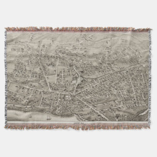 Vintage Pictorial Map of Newton MA (1878) Throw Blanket