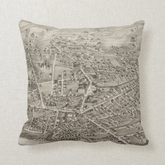 Vintage Pictorial Map of Newton MA (1878) Throw Pillow