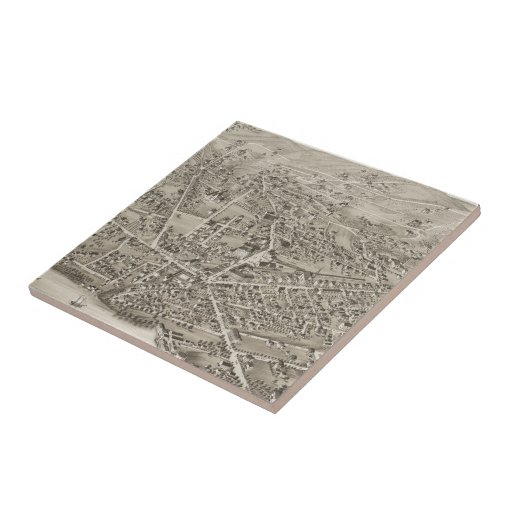 Vintage Pictorial Map of Newton MA (1878) Ceramic Tile