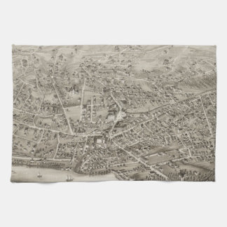Vintage Pictorial Map of Newton MA (1878) Towel