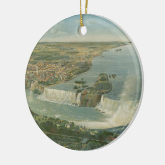 Vintage Pictorial Map of Niagara Falls NY (1893) Ceramic Ornament