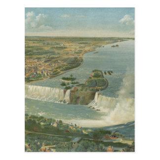 Vintage Pictorial Map of Niagara Falls NY 1893 Postcard