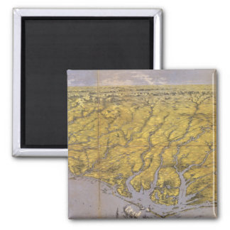 Vintage Pictorial Map of North Carolina (1861) 2 Inch Square Magnet