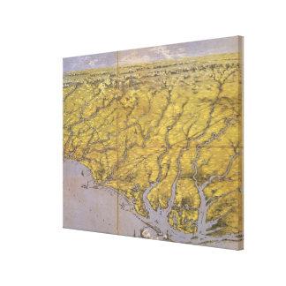 Vintage Pictorial Map of North Carolina (1861) Canvas Print