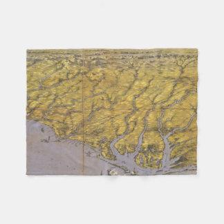 Vintage Pictorial Map of North Carolina (1861) Fleece Blanket