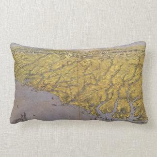 Vintage Pictorial Map of North Carolina (1861) Lumbar Pillow
