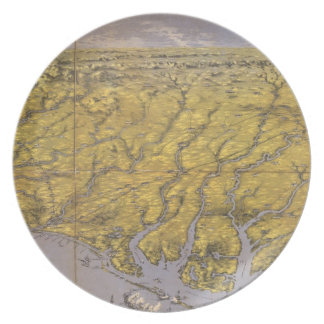 Vintage Pictorial Map of North Carolina (1861) Melamine Plate