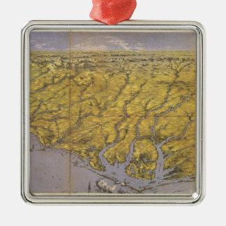 Vintage Pictorial Map of North Carolina (1861) Metal Ornament