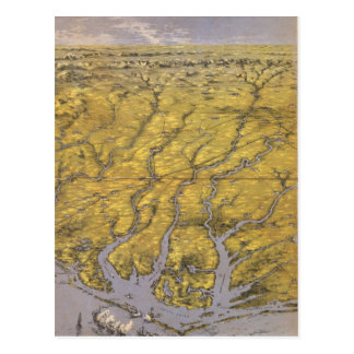 Vintage Pictorial Map of North Carolina (1861) Postcard