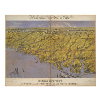 Vintage Pictorial Map of North Carolina (1861) Posters