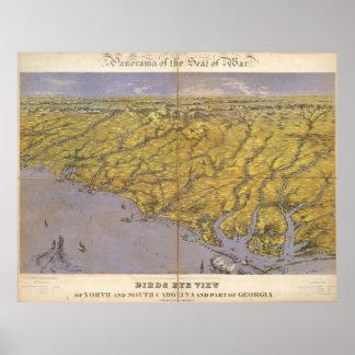Vintage Pictorial Map of North Carolina (1861) Poster