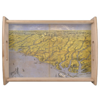 Vintage Pictorial Map of North Carolina (1861) Serving Tray