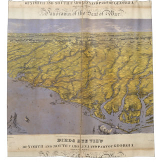 Vintage Pictorial Map of North Carolina (1861) Shower Curtain