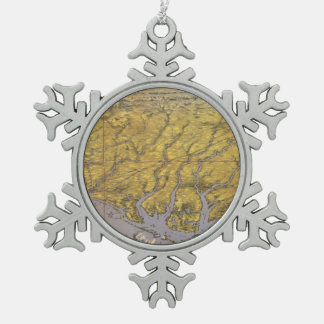 Vintage Pictorial Map of North Carolina (1861) Snowflake Pewter Christmas Ornament