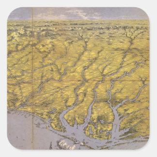 Vintage Pictorial Map of North Carolina (1861) Square Sticker