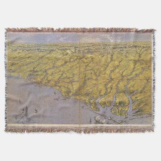 Vintage Pictorial Map of North Carolina (1861) Throw Blanket