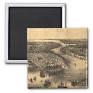 Vintage Pictorial Map of NYC and Brooklyn (1851) 2 Inch Square Magnet