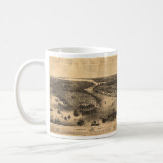 Vintage Pictorial Map of NYC and Brooklyn (1851) Coffee Mug