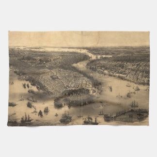 Vintage Pictorial Map of NYC and Brooklyn (1851) Kitchen Towels