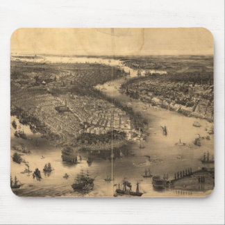 Vintage Pictorial Map of NYC and Brooklyn (1851) Mouse Pad