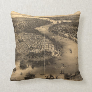 Vintage Pictorial Map of NYC and Brooklyn (1851) Pillow