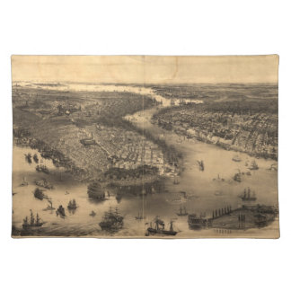 Vintage Pictorial Map of NYC and Brooklyn 1851 Placemats