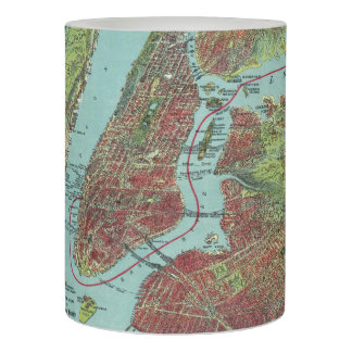 Vintage Pictorial Map of of New York City (1909) Flameless Candle