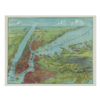 Vintage Pictorial Map of of New York City (1909) Poster
