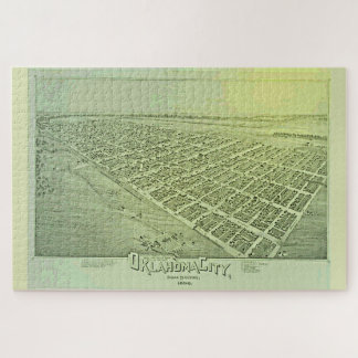 Vintage Pictorial Map of Oklahoma City in 1890 Jigsaw Puzzle