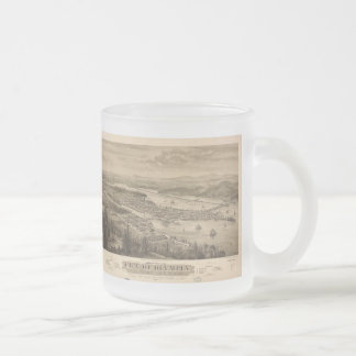 Vintage Pictorial Map of Olympia Washington (1879) Frosted Glass Coffee Mug