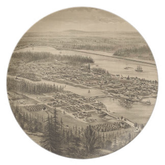 Vintage Pictorial Map of Olympia Washington (1879) Melamine Plate
