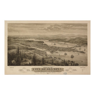 Vintage Pictorial Map of Olympia Washington (1879) Poster