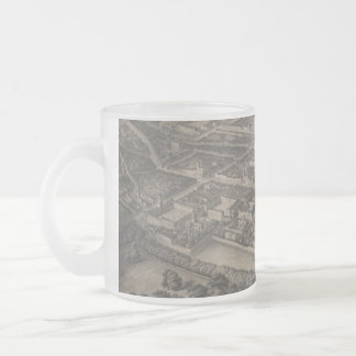 Vintage Pictorial Map of Oxford England (1850) Frosted Glass Coffee Mug