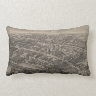 Vintage Pictorial Map of Oxford England (1850) Lumbar Pillow